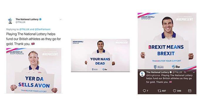 Screenshots of National Lottery Tweets
