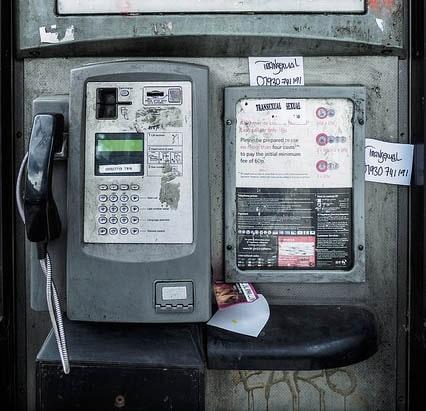 Inside a phonebox
