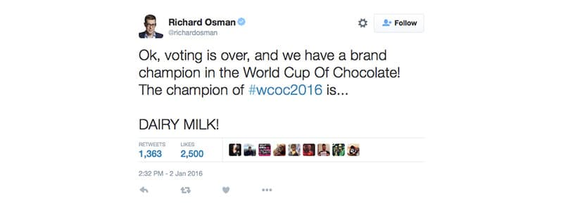 Twitter announcement of winner of Chocolate World Cup