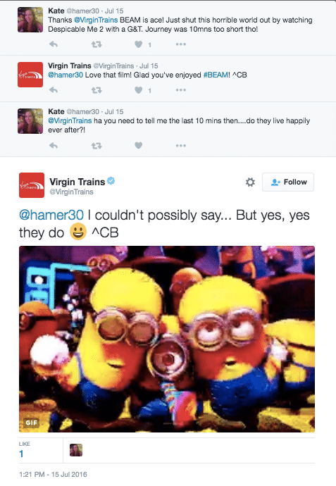 Virgin Trains Twitter Exchange