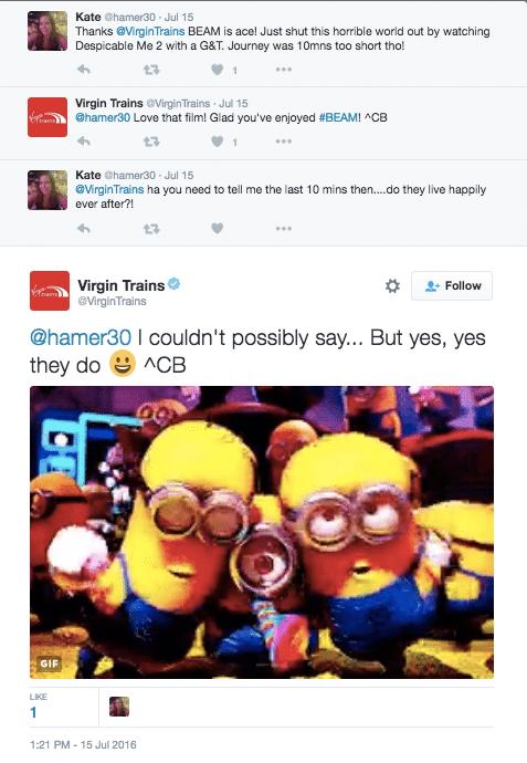 Virgin Trains Twitter Exchange