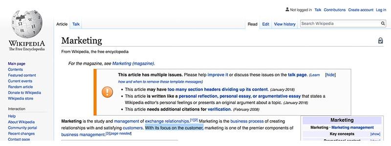 Wikipedia page on Marketing